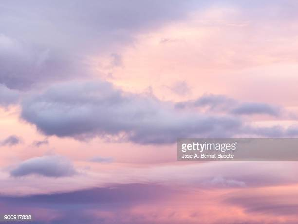 Full frame of the low angle view of clouds of colors in sky during sunset. Valencian Community, Spain