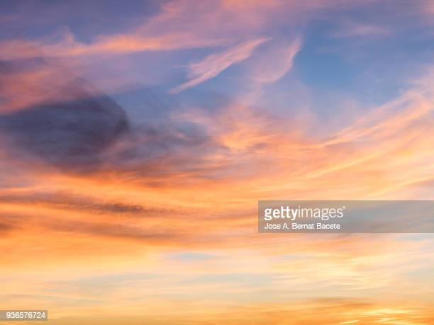 Full frame of the low angle view of clouds of colors in sky during sunset.