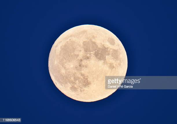 full frame of the supermoon of yellow color on a black sky with some high clouds. valladolid, spain - moon stock pictures, royalty-free photos & images