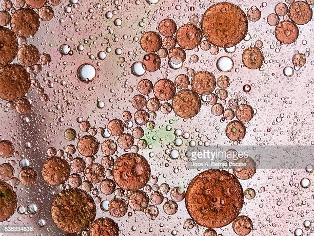 Full frame of the textures formed by the bubbles and drops of oil in the shape of circle floating on a red and pink colors background
