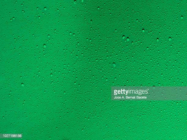 full frame of the textures formed by the bubbles and drops of water, on a smooth green background. - raindrop stock pictures, royalty-free photos & images