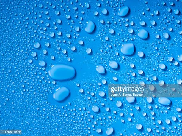 full frame of the textures formed by the bubbles and drops of water, on a blue color background. - tropfen stock-fotos und bilder