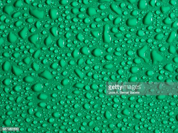 Full frame of the textures formed by the bubbles and drops, on a smooth  gree background