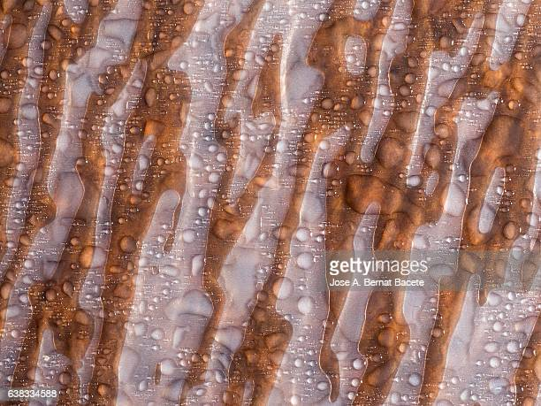 Full frame of the textures formed by the bubbles and drops,  on a coarse brown background