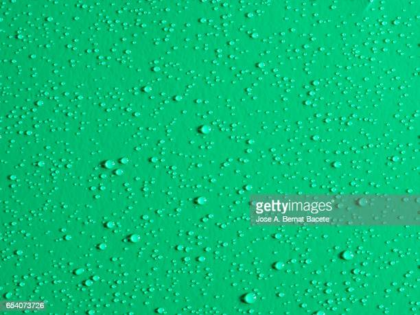 Full frame of the textures formed by the bubbles and drops, on a smooth green background