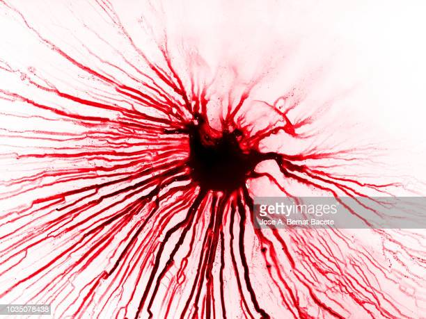 Full frame of the textures formed of a drop of bleeds on a white background.