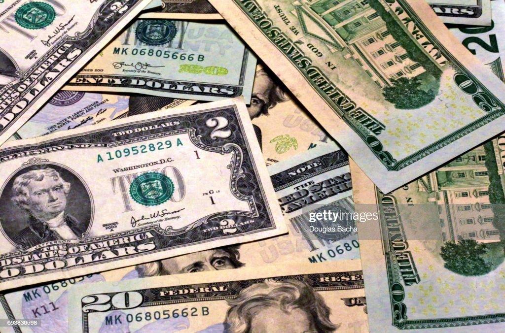 Full frame of various US dollars : Stock-Foto