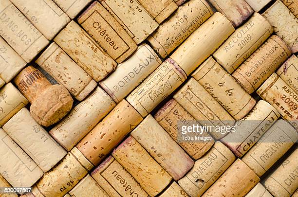 full frame of wine corks - wine cork stock photos and pictures