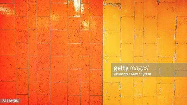 Full Frame Of Yellow And Orange Wall Tiles