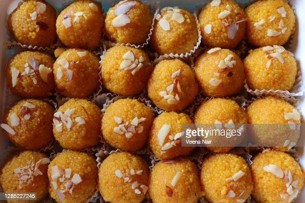 full frame photo of motichoor ladoo/laddu/diwali festival/india - ahmedabad stock pictures, royalty-free photos & images