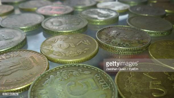 Full Frame Shot Of 5 Rupee Coins On Table