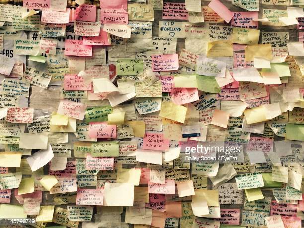 full frame shot of adhesive notes with text - bulletin board stock pictures, royalty-free photos & images