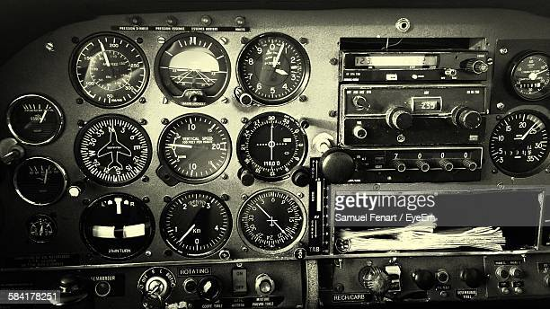 Full Frame Shot Of Airplane Cockpit Control Panel