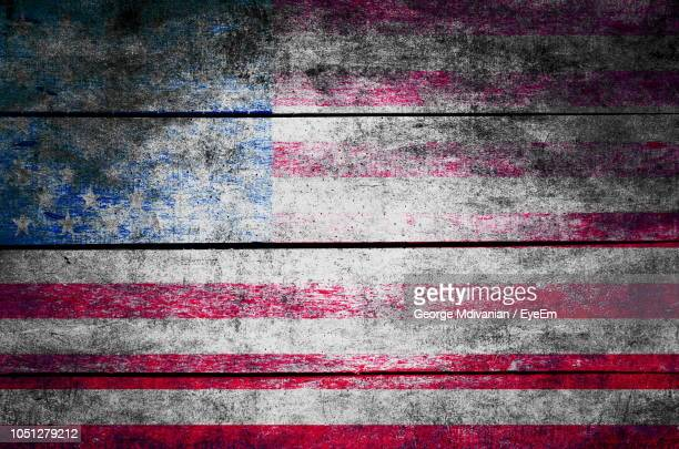 Full Frame Shot Of American Flag Painted On Wood