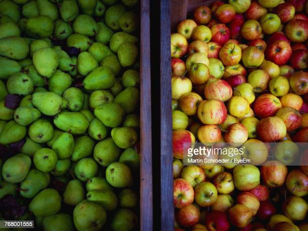 Full Frame Shot Of Apples And Pears For Sale
