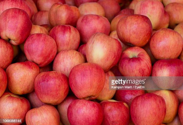 full frame shot of apples at market stall - apple fruit stock photos and pictures