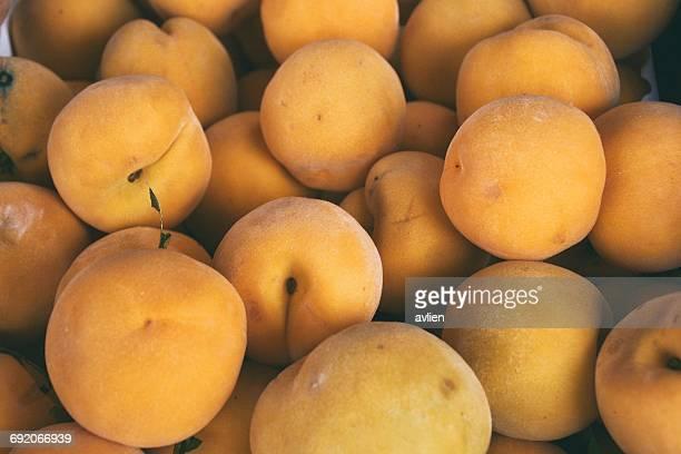 Full Frame Shot Of Apricots For Sale At Market