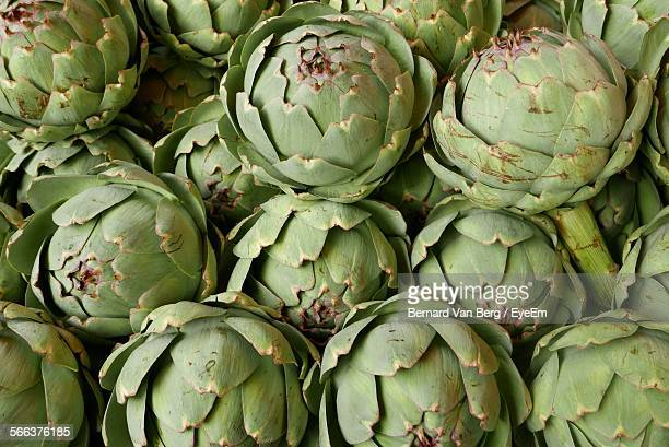 Full Frame Shot Of Artichoke For Sale At Market Stall