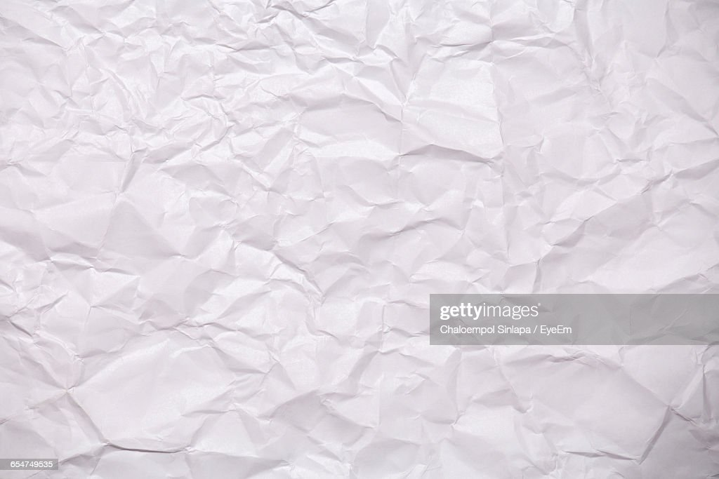 Full Frame Shot Of Blank Crumpled Paper : Stock Photo