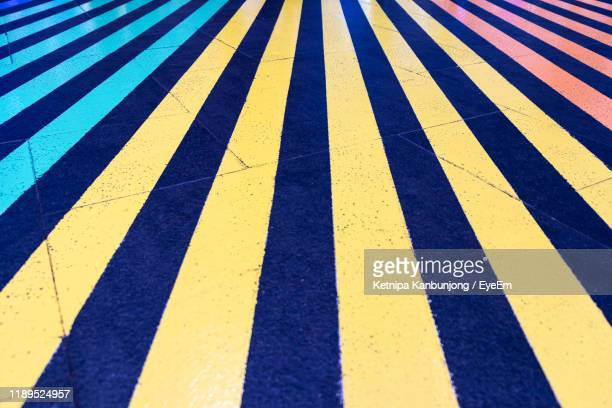 full frame shot of blue and white stripes on floor - white stripes stock pictures, royalty-free photos & images