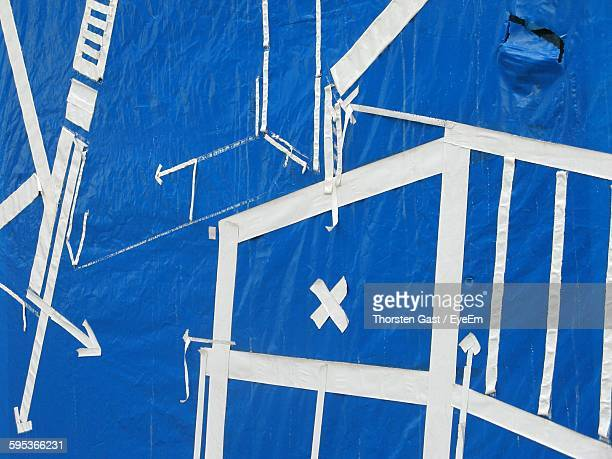 Full Frame Shot Of Blue Canvas With Abstract Pattern