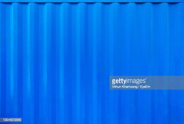 full frame shot of blue corrugated iron - corrugated iron stock photos and pictures