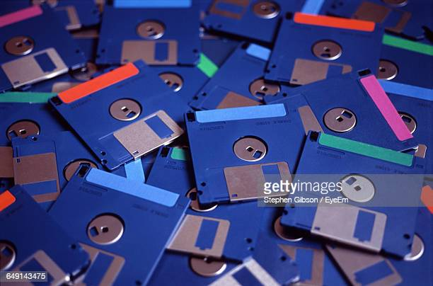 Full Frame Shot Of Blue Floppy Disks