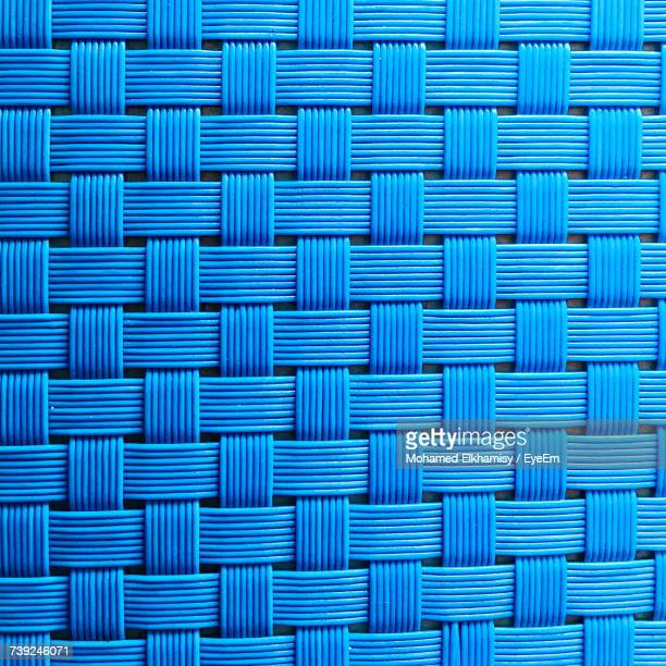 Full Frame Shot Of Blue Plastic Wicker