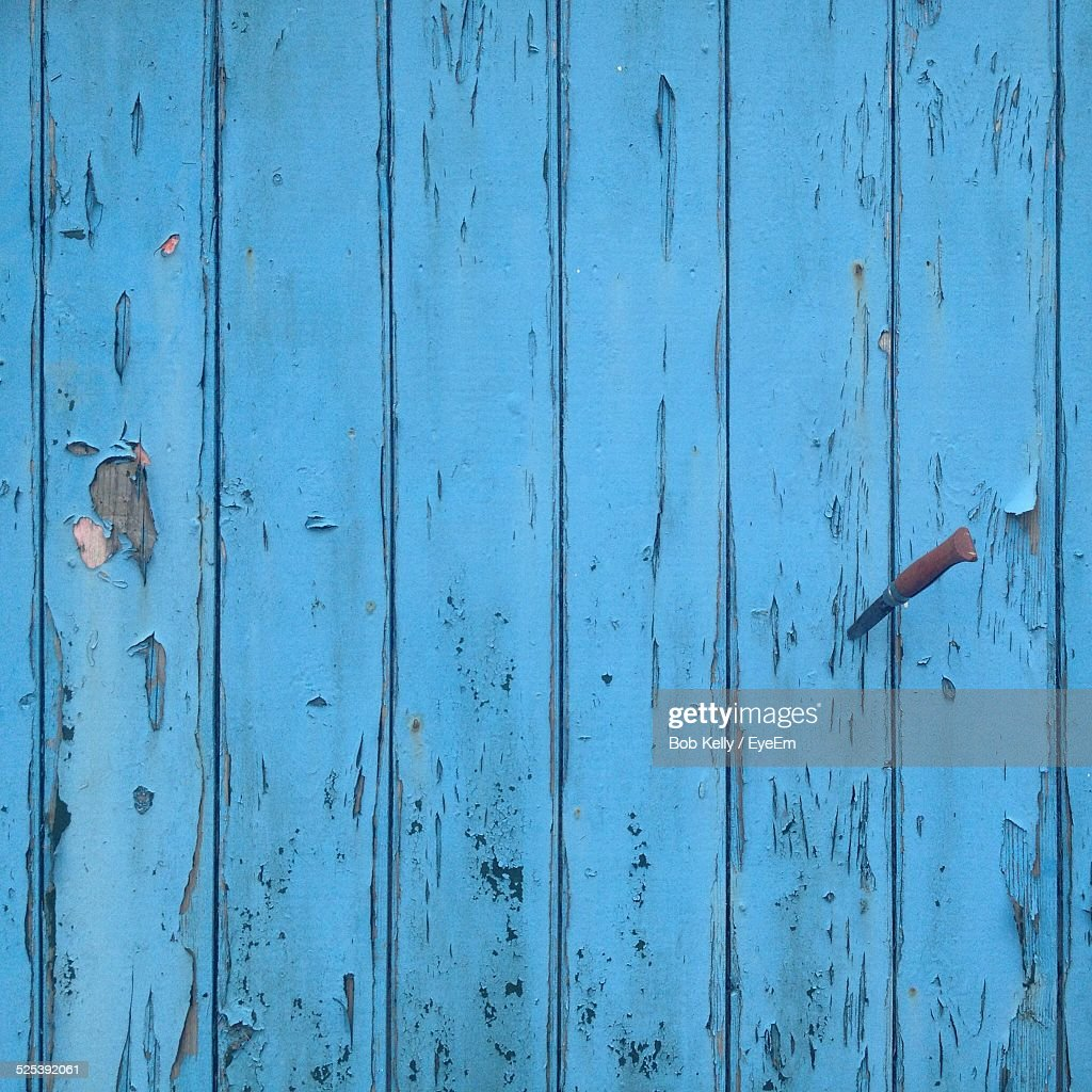 Full Frame Shot of Blue Wooden Plank With Knife On It : Stock Photo