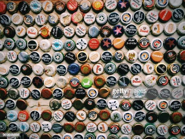 full frame shot of bottle caps - collection stock pictures, royalty-free photos & images