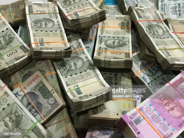 full frame shot of bundled rupees - indian currency stock photos and pictures