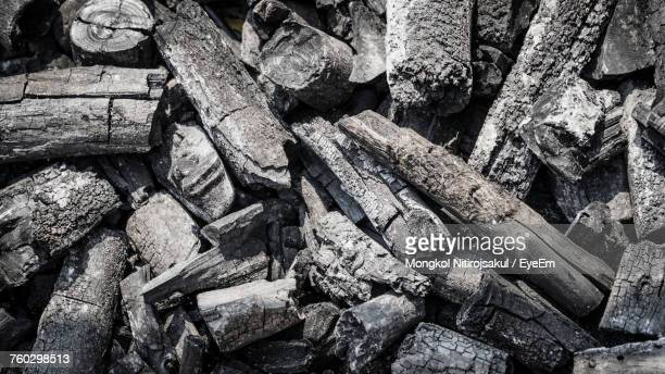 Full Frame Shot Of Burnt Logs