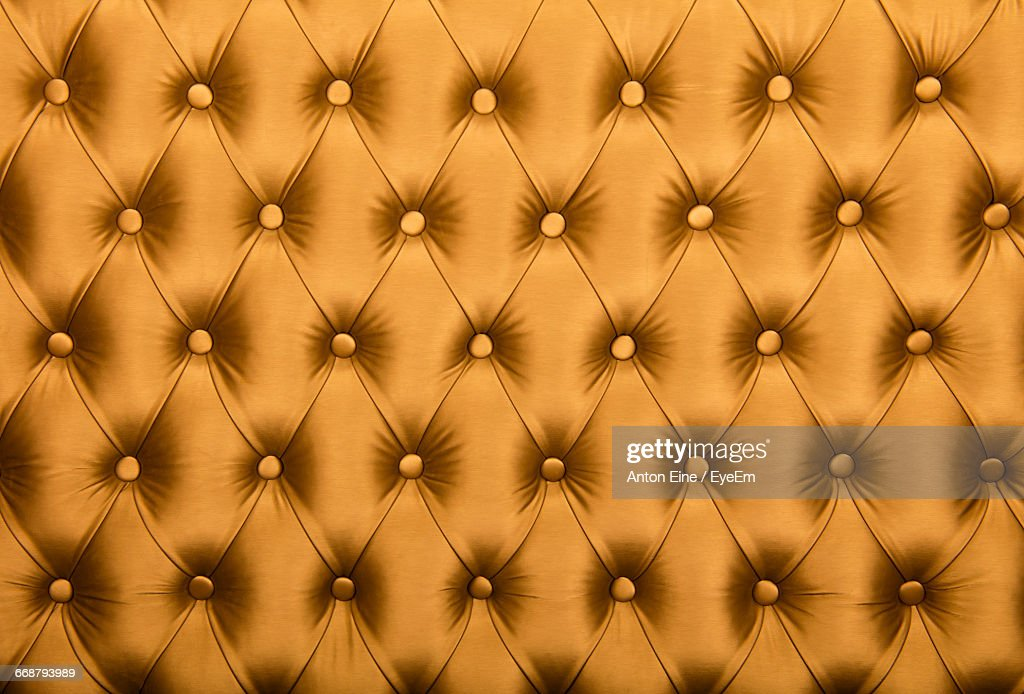 Full Frame Shot Of Button Tufted Leather : Stock Photo