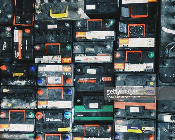 Full Frame Shot Of Car Batteries