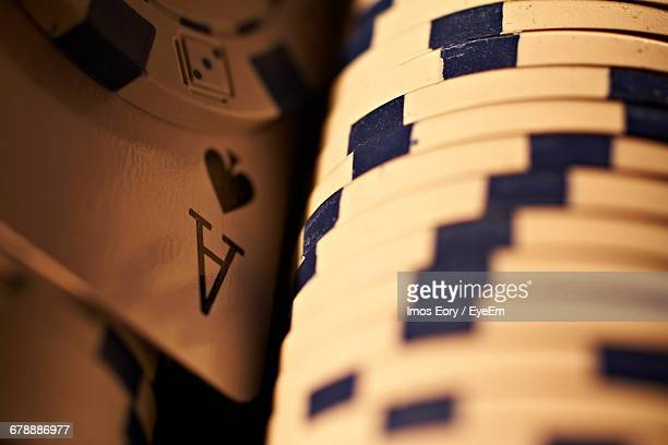 Full Frame Shot Of Card And Gambling Chips