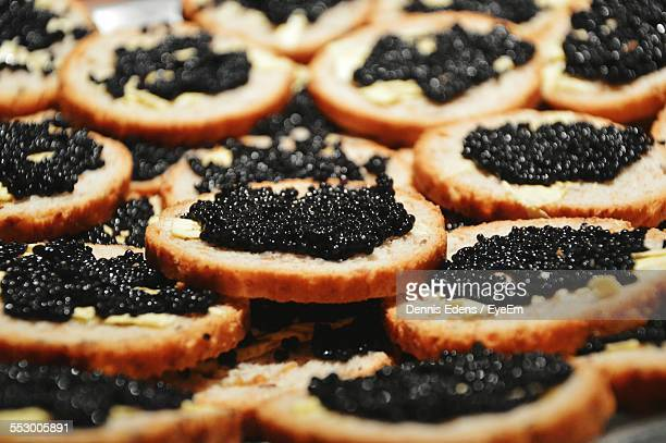 Full Frame Shot Of Caviar Canapes