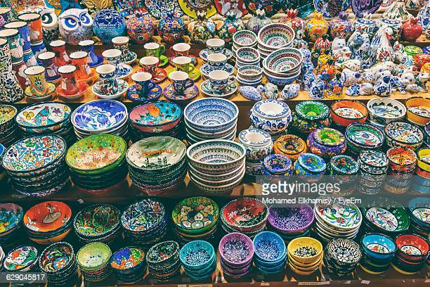 full frame shot of ceramics at grand bazaar - ceramic stock photos and pictures