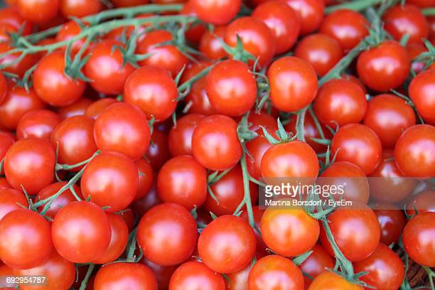 Full Frame Shot Of Cherry Tomatoes At Market Stall