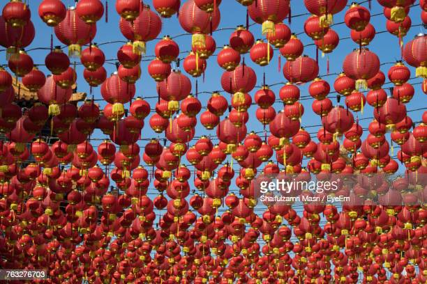Full Frame Shot Of Chinese Lanterns Hanging Against Sky