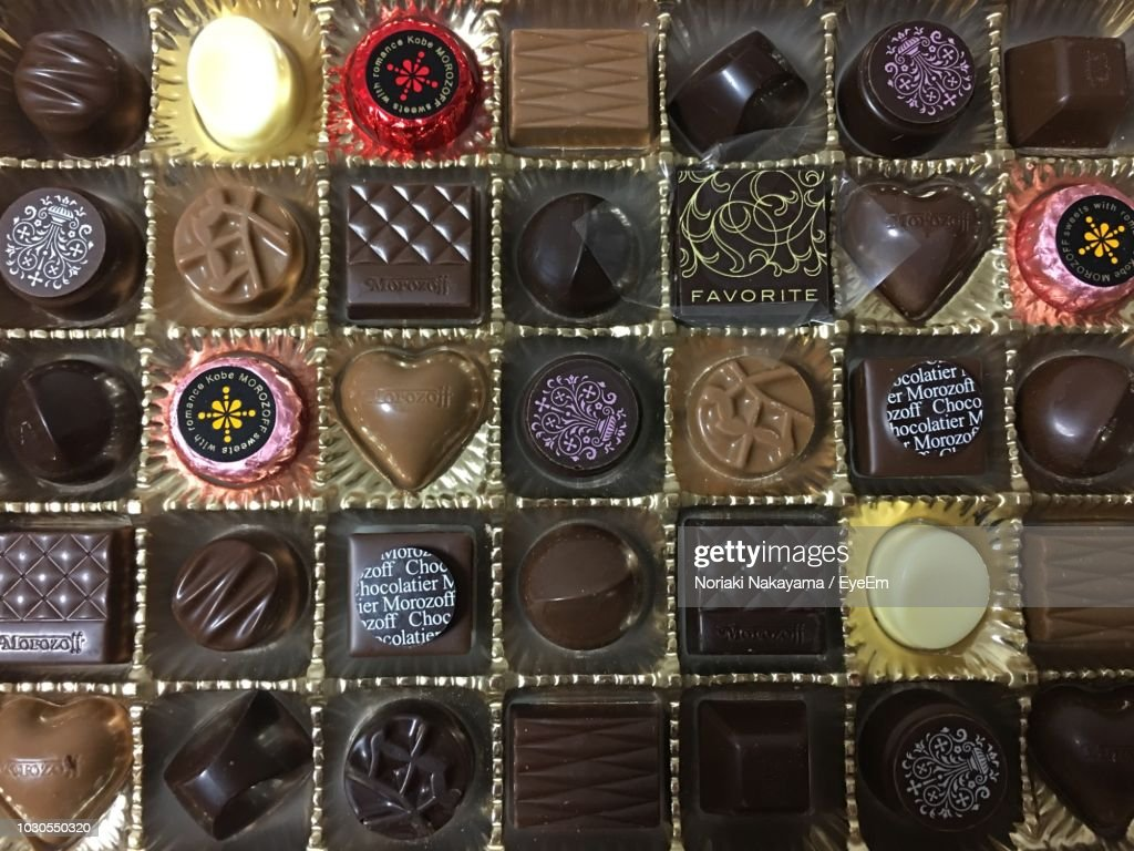 Full Frame Shot Of Chocolate Box : Stock Photo