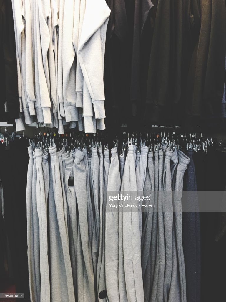 Full Frame Shot Of Clothes Hanging At Store Stock Photo | Getty Images