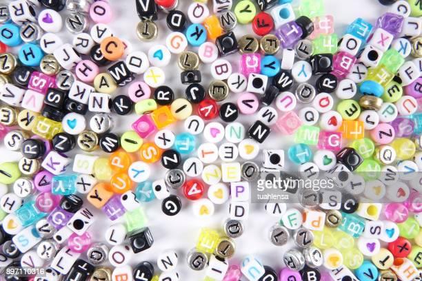 Full Frame Shot Of Colorful Alphabet Beads