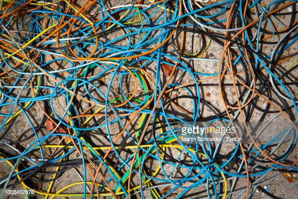 Full Frame Shot Of Colorful Cables On Table