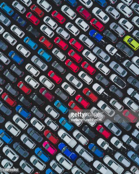 Full Frame Shot Of Colorful Cars Arranged At Parking Lot
