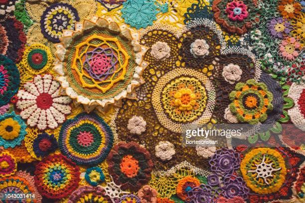 full frame shot of colorful fabric - bortes stock-fotos und bilder