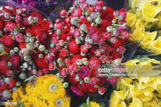 Full Frame Shot Of Colorful Flower Bouquets At Store
