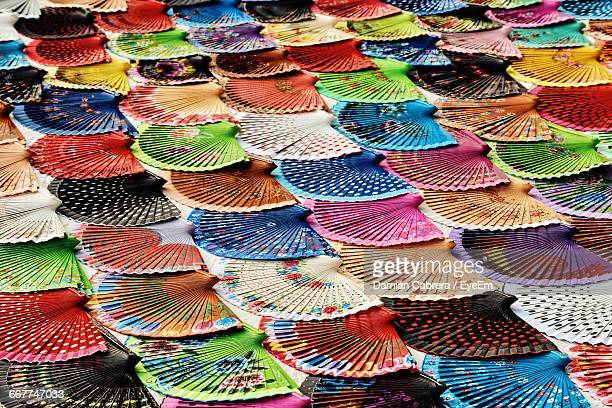 Full Frame Shot Of Colorful Hand Fans At Market Stall