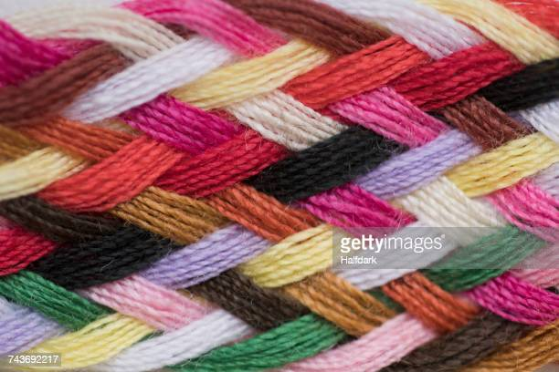 full frame shot of colorful knitted wool - woven stock photos and pictures