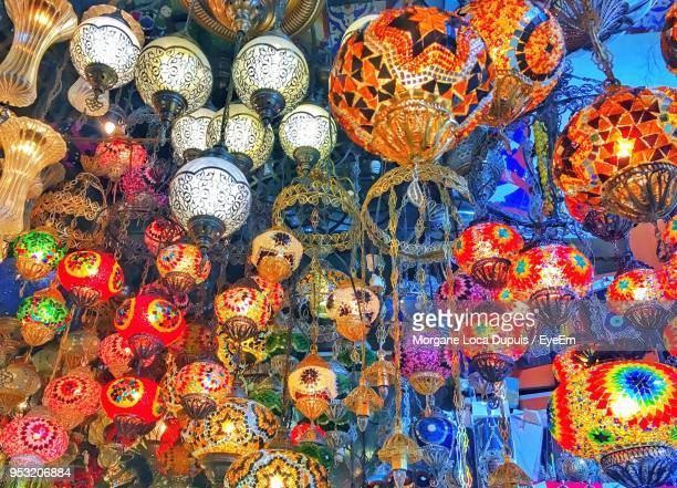full frame shot of colorful lanterns for sale in market - bazaar stockfoto's en -beelden