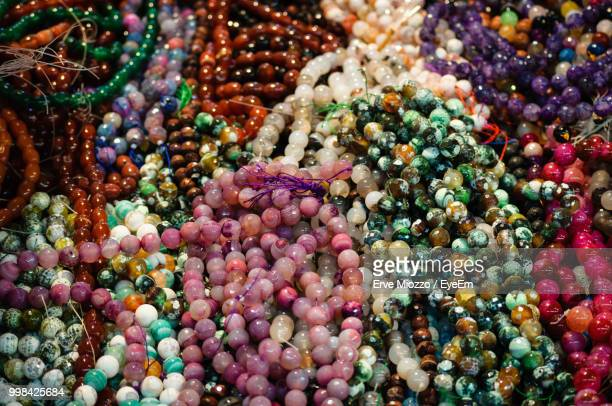 Full Frame Shot Of Colorful Necklaces For Sale In Market